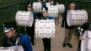 Pride of the Valley drummers march to Arnold Field