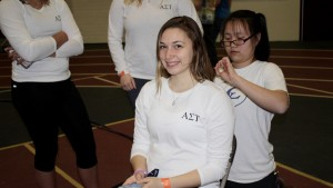 An LVC student gives a haircut at Relay for Life