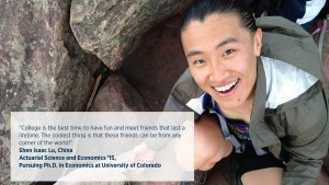 Alumnus Shen Isaac Lu from China graduated with an Actuarial Science and Economics degree and is pursuing his Ph.D.