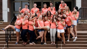 2017 Lebanon Valley College Valley Ambassadors pose for a photo during an Admissions event