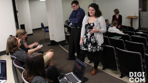 LVC Digital Communications majors chat before portfolio defenses