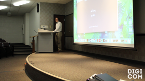 Alex Bushong, a programming concentration, presents his portfolio to his peers