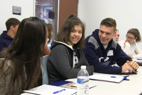Prospective students talk with each other during a classroom visit at Lebanon Valley College