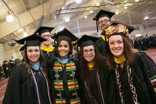 Students participating in commencement exercises at Lebanon Valley College