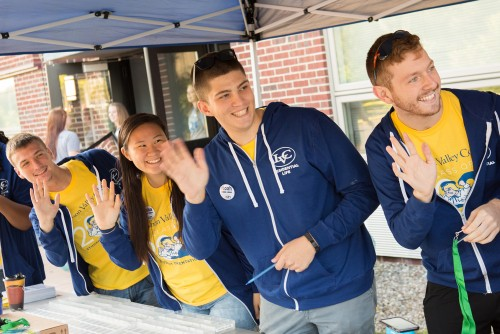 Resident assistants greet new students arriving at Lebanon Valley College.