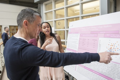 Students in various Psychology courses present posters of their semester-long research projects