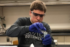 A Lebanon Valley College student makes biodiesel as part of a chemistry course