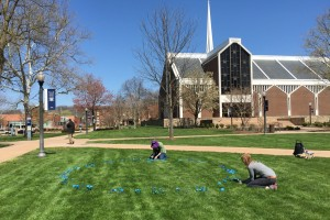 Students create a sustainability art piece on LVC's academic quad