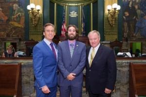 Jordan Hykes poses at the PA Capitol during his internship
