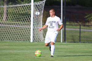 Nate Gibbons plays in an LVC men's soccer game