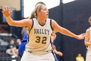 Lexie Lantz waits for a pass during a Lebanon Valley College women's basketball game