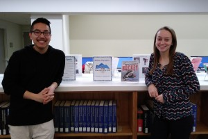 Student workers pose in the Bishop Library