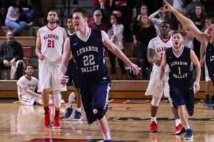 Lebanon Valley College men's basketball celebrates a conference championship