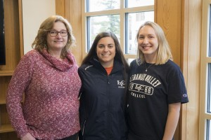 Dr. Michelle Scesa, chair of speech-language pathology, with two students at Lebanon Valley College