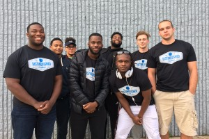 Lebanon Valley College students pose in Men of Distinguished Excellence shirts