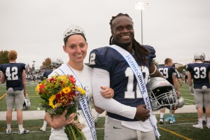 Teanna Shutt and Ja'von Nelson pose as homecoming queen and king at Lebanon Valley College