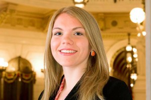 Politics graduate Olivia Edwards poses at the PA Capitol in Harrisburg