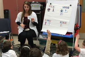 Education major Marleigh Palmer teaches young students as part of her student teaching experience