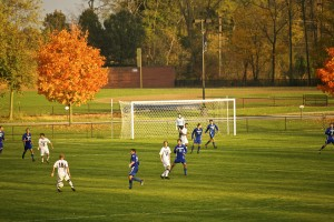 The men's soccer team plays a game at LVC