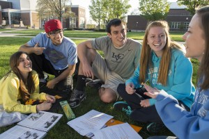 Lebanon Valley College students study on the quad