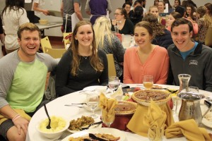 Students gather during Thanksgiving dinner at Lebanon Valley College
