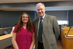 Politics major Rebecca Whalen poses with Dr. Philip Benesch