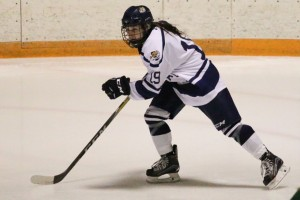 Nikki Lloyd playing LVC women's ice hockey