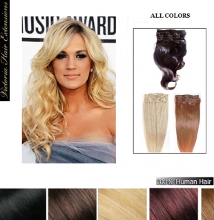 18inch (45cm) 100g. Clip In Remy Human Hair Extensions Full Head ALL COLORS
