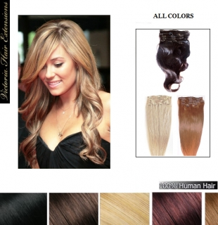 20inch (50cm) Clip In Remy Human Hair Extensions Full Head ALL COLORS
