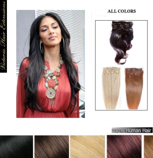 28inch (71cm) Clip In Remy Human Hair Extensions Full Head ALL COLORS