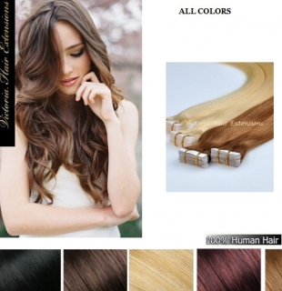 18Inch long(45cm) 4A Grade 100% Human Remy Tape Hair Extensions 100g  MANY COLOURS