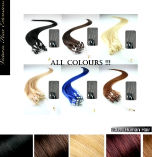 24 Inch (60cm) 100s 1g/s Micro Loop Ring Human Hair Extensions ALL COLORS