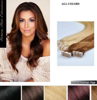 "20"" long(50cm) 4A Grade 100% Remy Human Tape Hair Extensions 100g  MANY COLOURS"