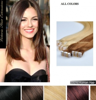 12 Inch long (30cm) 4A Grade 100% Remy Human Tape Hair Extensions 100g. MANY COLOURS!