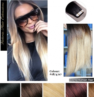 """20"""" long(50cm) 4A Grade 100% Remy Human Tape Hair Extensions 50g OMBRE"""