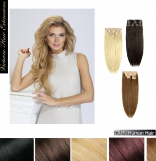 "20"" (50cm) long TRIPLE WEFTED 180g. Full Head Clip In Human Hair Extensions"