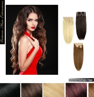 24 inch (60cm) long DOUBLE WEFTED 230g. Full Head Human Clip In Hair Extensions