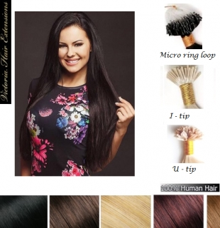 "100 Strands - 26"" (65cm) 1g/each  4A grade, I-tip, U-tip, Micro ring Remy Human Hair Extensions. ALL COLORS"