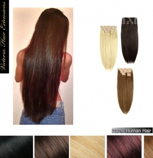 28 inch (71cm) long DOUBLE WEFTED 230g. Full Head Clip In Human Hair Extensions