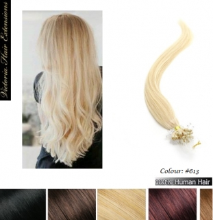 24 Inches long(60cm) 100s Micro Loop Ring Human Hair Extensions Colour:#613 Lightest Blonde