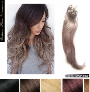 20 Inches (50cm) long 100 Strands 0.8g/each Micro Loop Ring Human Hair Extensions Colour: GREY