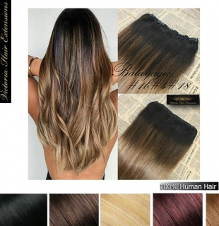 Deluxe Balayage / Ombre Full Head Clip-in Hair Extensions Colour: #1b#4#18