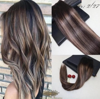 Remy Human Hair Weft/Weave Hair Extensions Balayage Ombre #2/27