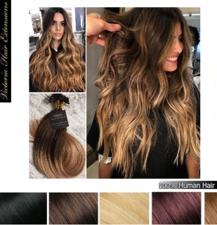 Ombre/Balayage Pre Bonded Remy Nail Tip Hair Extensions 1g/each Colour: T#2/27