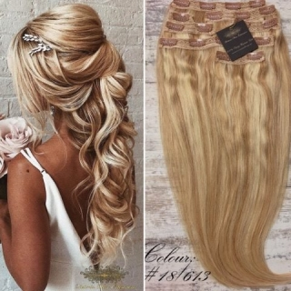 "FAST DELIVERY 20"" 22"" 24"" Long Full Head Clip-in Hair Extensions Colour #18/613 Mixed Blonde"
