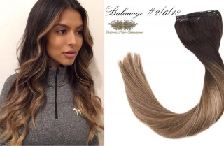 "18""-24"" Long Full Head Clip-in Hair Extensions Balayage  #2/6/18"