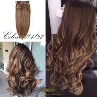 "FAST DELIVERY 20"" 22"" 24"" Long Full Head Clip-in Hair Extensions Colour #4/27 Chocolate Brown and Blonde Mix"