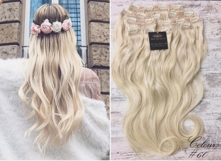 "FAST DELIVERY 20"" 22"" 24"" Long Full Head Clip-in Hair Extensions Colour #60 Lightest Blonde"