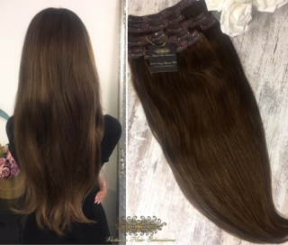 "FAST DELIVERY 20"" 22""  Long Full Head Clip-in Hair Extensions Colour #4 Chocolate Brown"