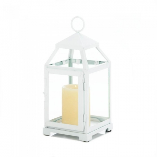 Medium White Contemporary Lantern